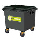 Container 1300 liter bedrijfsafval