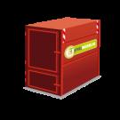 Een puincontainer met een inhoud van 4,5m3